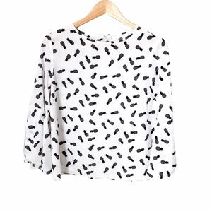 Ripe Pineapple Black and White Blouse Bell Sleeves